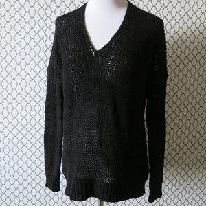Vince V Neck Black Knit Long Sleeve Sweater Sz XS